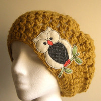 Crochet Slouchy Hat in Mustard with Owl for Women by dahliasoleil