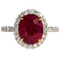 GIA Certified 5 carat Vivid Red Pigeon's Blood Burma Ruby and diamond Ring