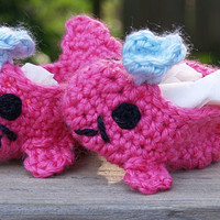 Pink Whale Booties newborn size by staceyLynnCreates on Etsy