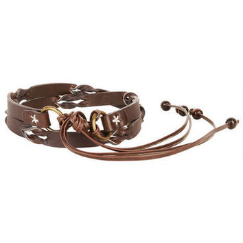 Braided Tie Belt - Brown