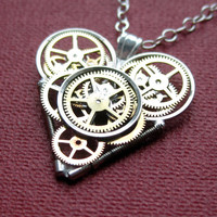 "Mini Clockwork Heart Necklace ""Horizon"" Elegant Industrial Heart Pendant Steampunk Mechanical Love Sculpture Gershenson-Gates Mothers Day"