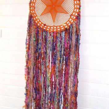 Boho Gypsy Doily Dreamcatcher - Wall Art Decor - HUGE 41cm size - Vibrant Orange - Colorful - Upcycled vintage lace - By White Raven Designs