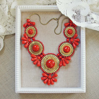 Bohemian Romance Necklace in Coral - Coral
