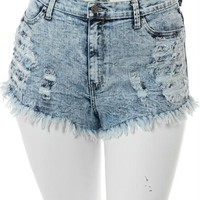 Plus Size Acid Frayed Denim Slashed Shorts, Plus Size Clothing, Club Wear, Dresses, Tops, Sexy Trendy Plus Size Women Clothes