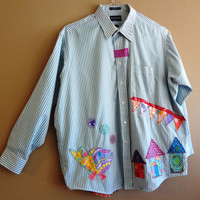 Large / Plus Size  Funky Shirt / Upcycled Boyfriend Shirt / OOAK / Blue / White / OOAK/Beach Coverup/Artsy