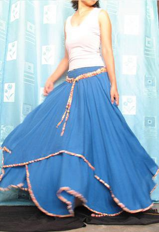 New Blue Bohemian Cotton Party Flowing Long Maxi Skirt | midress | ASOS Marketplace