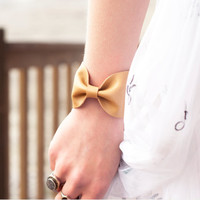 Bow Cuff Bracelet Tan Faux Leather Vegan Tie Bowtie Scarf Wide Womens Bridesmaid Bridal