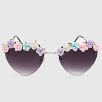 Heart Floral Sunglasses - Dark Purple - One Size / Dark Purple