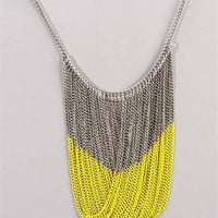 Neon Yellow Ombre Drop Necklace