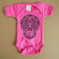 Hot Pink Sugar Skull Baby Clothes. 3 6 or 12 months. Day of the Dead Bodysuit Creeper. Infant Girl Boy Rockabilly. Toddler Skull Tattoo