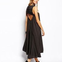 ASOS Dip Hem Maxi Dress With Open Back And Embroidery