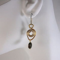 Spiral Brass Wire Teardrop Earrings with African Copper Green Opal - Naturally Nickel Free