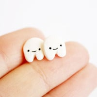 Teeth Stud earrings  handmade cute polymer clay by kukishop