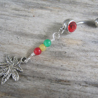 Rasta Pot Leaf Belly Ring, Jade Belly Button Ring, Marijuana Belly Piercing, Reggae, Rastafarian Inspired, Gemstone, Ganja Body Jewelry, 420