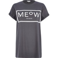 Grey meow or never print oversized t-shirt