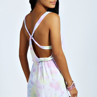 Mariah Multicolour Tie Dye Knot Back Playsuit