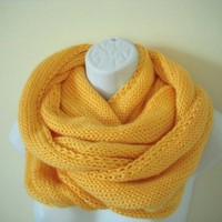 Sunshine Yellow Long Infinity Circle Scarf | HighDesertKnits - Accessories on ArtFire