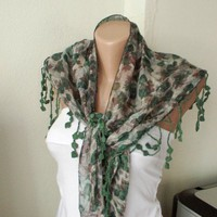 NEW 2012 Spring Model Two side Green and Cinnamon Cream Scarf from 1 | moonfairy - Accessories on ArtFire