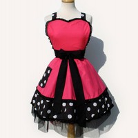 Pink Polka Dot Deluxe Full Apron | VintageGaleria - Accessories on ArtFire