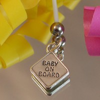 BABY ON BOARD Sign Charm Maternity Belly Button Ring - Sterling Silver | BellyCharms - Jewelry on ArtFire