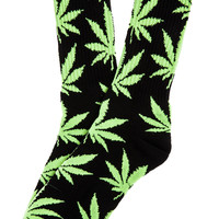 The Glow In The Dark Plantlife Crew Socks in Black