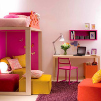 the level bedroom that is unique for a small girl with colorful modern furnished with a desk and chair under the bed - design ideas and pictures on Interior Design and Decoration Ideas