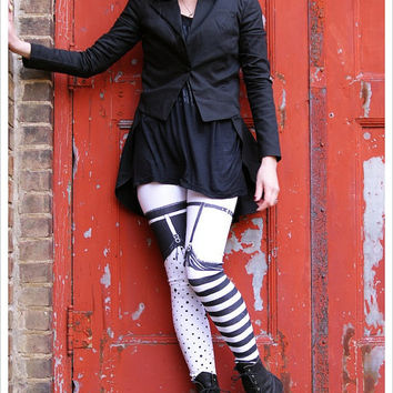 Pippi Garter Legging - Striped Legwear - Polka Dot Striped Tights - xLARGE Legging Womens Tights