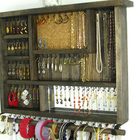 Earring Organizer Jewelry Storage with Bangle Bar OOAK