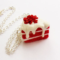 polymer clay red velvet flower cake necklace