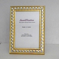 GOLD & BLING Picture Frame - gold w/ clear rhinestones