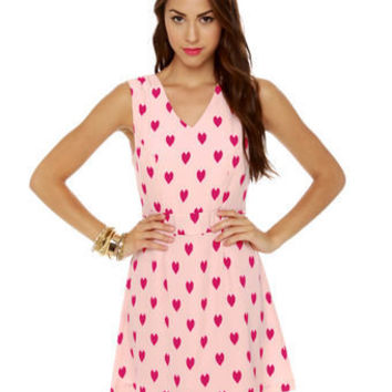 Cute Heart Print Dress - Pink Dress - Sleeveless Dress - $45.00