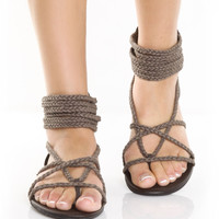 GoMax Ares 09 Brown Braided Thong Sandals