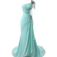 VILAVI Women's A-line One Shoulder Long Chiffon Crystal Prom?Dresses