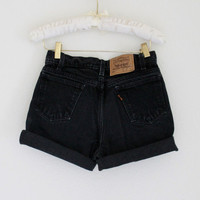 "High Waisted Black Levi Shorts Distressed High Rise Cut Offs Boyfriend Shorts, US Size 7/28"" Waist"