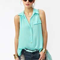 Button Up Tail Top  in  What&#x27;s New at Nasty Gal