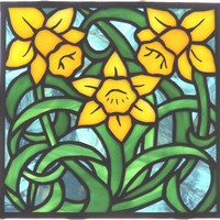 Stained Glass Daffodil Panel | LadybugStainedGlass - Glass on ArtFire
