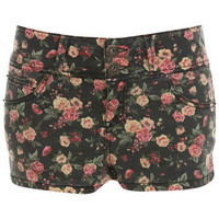 Black Floral Denim Hotpants - Miss Selfridge
