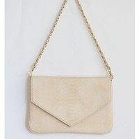 Ivory Embossed Envelope Clutch