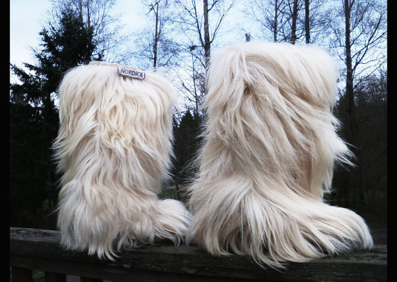 $99.00 70s vtg YETI FEVER Goat Hair Ski Boots by ANNAKARINASCLOSET