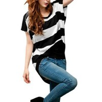 Allegra K Woman Black White Stripe Short Sleeve Pullover Shirt Top Black M