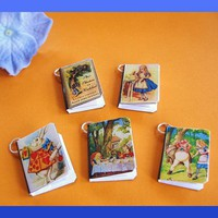 Alice In Wonderland Miniature Book Charms Set Of 5 | Luulla
