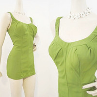 50s 60s Swimsuit Vintage Jantzen Bright Green Pin Up Bathing Suit L