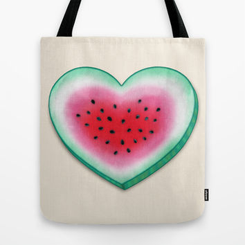 Summer Love - Watermelon Heart Tote Bag by Perrin Le Feuvre