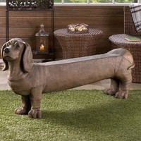 DACHSHUND DOGGY INDOOR OUTDOOR LOVE SEAT GARDEN BENCH
