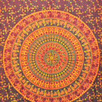 Elephant Mandala Tapestry, Hippie Indian Tapestry, Indian Mandala Tapestry Cotton Mandala Bed Cover, Bohemian Wall Hanging, Bedspread