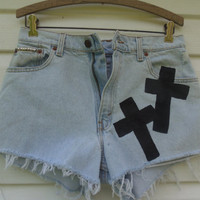 High Waisted LEVI&#x27;S Frayed Denim Cross Shorts by MadMixFashion