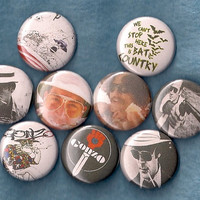 Hunter S Thompson Set of 9 Pins Buttons Badges Gonzo Fear and Loathing