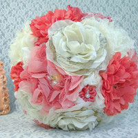Vintage Bridal Brooch Bouquet Coral and Ivory Something Old with Handmade Flowers and Antique Style Roses French Script Petals In Stock