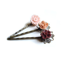 Hair pins Flower Hair pins Bridesmaid gift Pink Hair by JPwithLove