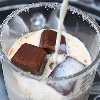 Chocolate Icecubes in Vanilla Milk